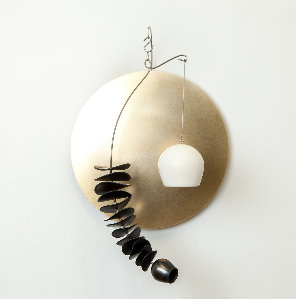 Wall Mobile with Brass Disc and Black Leaves