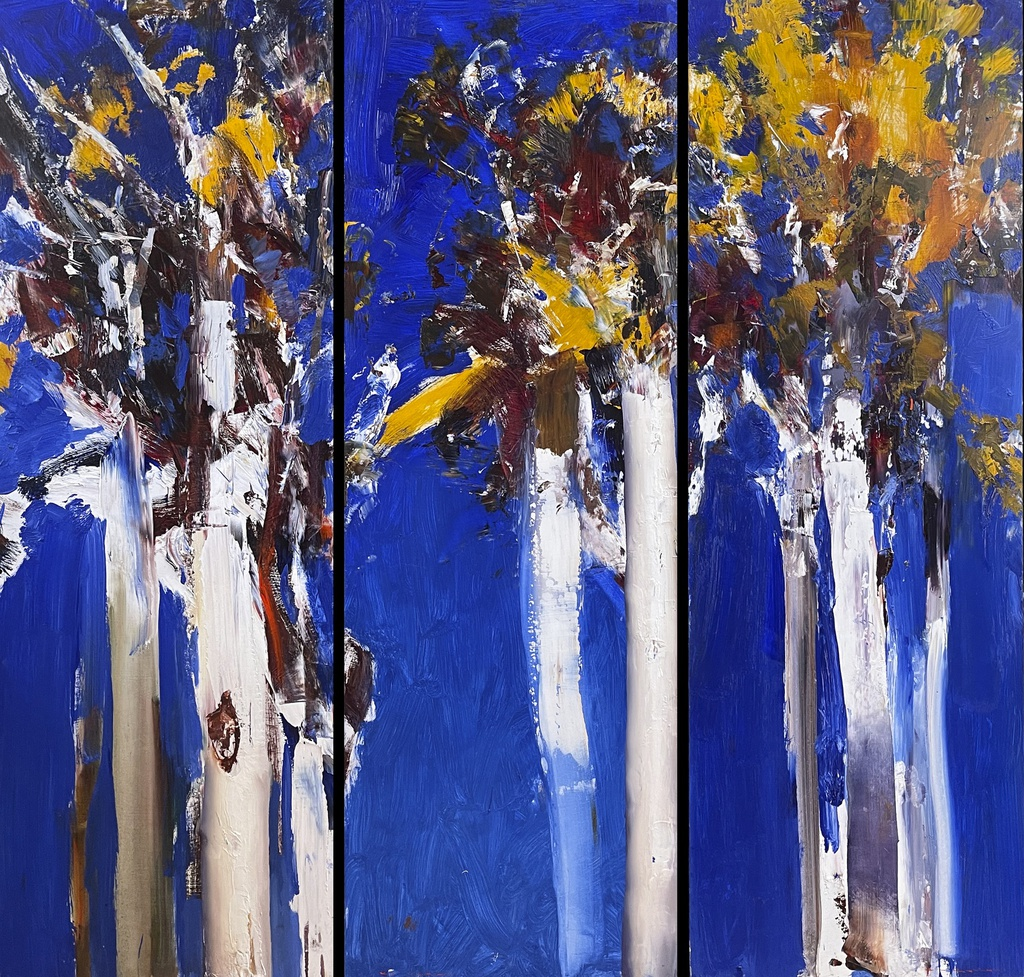 [KK 051] Blue and Gold - Scribbly Gums triptych
