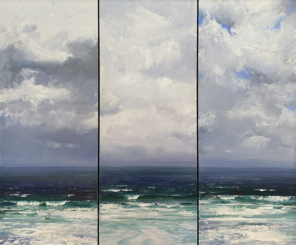 While the Sky and Sea take on the colour of a single contusion triptych